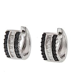 0.40ctw Colored and White Diamond Sterling Silver Hugger Hoop Earrings