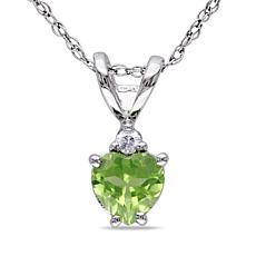 0.52ctw Peridot and Diamond 10K Gold Heart Pendant