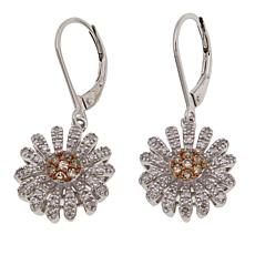 "0.6ctw Champagne and White Diamond ""Floral"" Sterling Silver Earrings"