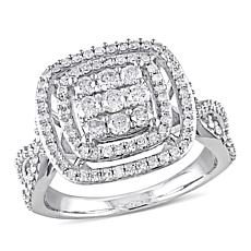 0.95ctw White Diamond 10K White Gold Halo Ring