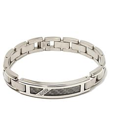 .09ctw Diamond-Accent Gray Carbon Fiber & Steel Bracelet