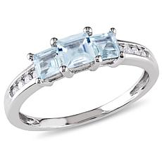 0.9ctw Square Aquamarine and Round Diamond 10K Gold Rin