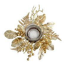 "10"" Golden Artificial Christmas Candelabrum"