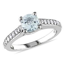 1.01ctw Aquamarine and Diamond 10K Round Pavé Ring