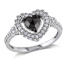 1.01ctw Black & White Diamond Heart 10K White Gold Ring