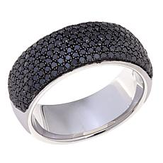 1.01ctw Colored Diamond Pavé Sterling Silver Band Ring