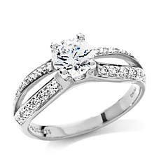 1.02ctw Absolute™ Round Solitaire Pavé Split Shank Ring