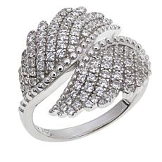 1.03ctw Absolute™ Sterling Silver Pavé Bypass Wing Ring