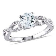 1.03ctw Aquamarine and Diamond 10K Twist-Design Ring