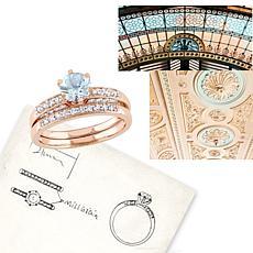 1.09ctw Aquamarine and Diamond 10K 2pc Ring Set