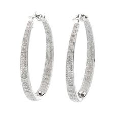 1.0ctw Pavé White Diamond Inside/Outside Hoop Earrings