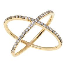 "10K Gold 0.39ctw Moissanite ""X"" Ring"
