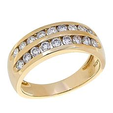 10K Gold 0.7ctw Moissanite Double Band Ring