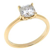 10K Gold 1.50ct Cushion-Cut Moissanite Solitaire Ring