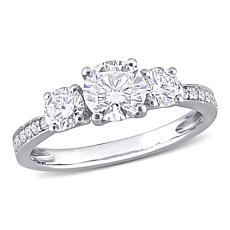 10K Gold 1.52ctw Moissanite Round Three-Stone Engagement Ring