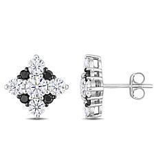 10K Gold 1.9ctw Moissanite and .28ctw Black Diamond Stud Earrings
