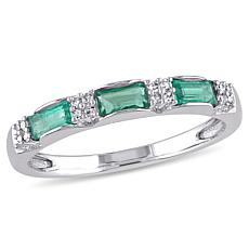 10K Gold .43ctw Diamond and Emerald Semi-Eternity Band Ring