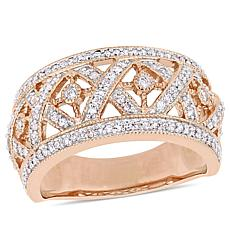 10K Rose Gold 0.50ctw Diamond Openwork Fashion Crosshatch Ring