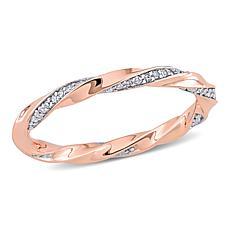 10K Rose Gold .25ctw Diamond Twist Eternity Band Ring