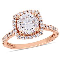 10K Rose Gold 2.63ctw Moissanite Halo Pavé Ring