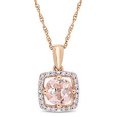 10K Rose Gold .95ctw Morganite and Diamond Halo Pendant with Chain