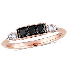 10K Rose Gold Black and White Diamond Ring