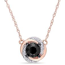 10K Rose Gold Black and White Diamond Swirl Stud Necklace