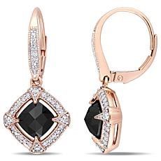 10K Rose Gold Black and White Diamond Vintage Inspired Drop Earrings