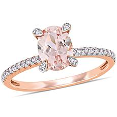 10K Rose Gold Diamond-Accented Morganite Engagement Ring