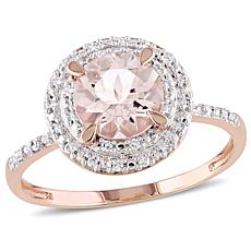 10K Rose Gold Morganite and Diamond Double Halo Ring