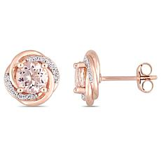 10K Rose Gold Morganite and Diamond Swirl Stud Earrings