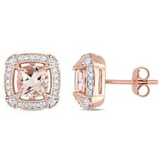 10K Rose Gold Morganite and Multi-Gemstone Halo Stud Earrings