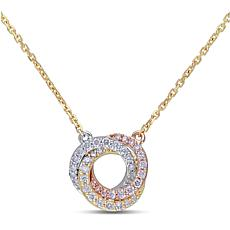 10K Tri-Tone Gold 0.25ctw Diamond Swirl Drop Necklace