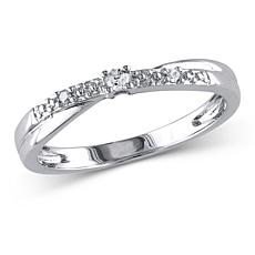10K White Gold 0.05ctw Diamond Crossover Ring