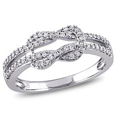 10K White Gold 0.24ctw White Diamond Bow Crossover Ring