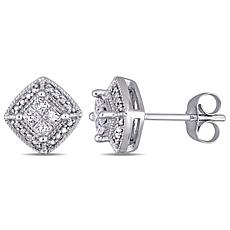 10K White Gold 0.25ctw Diamond Cluster Stud Earrings