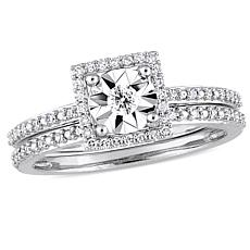 10K White Gold 0.25ctw Diamond Halo Bridal Ring Set