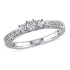 10K White Gold 0.28ctw Diamond 3-Stone Pavé Ring