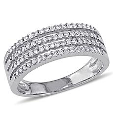 10K White Gold 0.36ctw White Diamond Pavé Multi-Row Ring