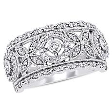 10K White Gold 0.50ctw Diamond Openwork Fashion Floral Ring