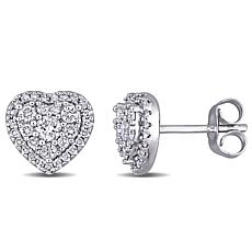 10K White Gold 0.50ctw Diamond Pavé Halo Heart Stud Earrings