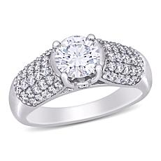 10K White Gold 0.90ctw Moissanite and 0.50ctw Diamond Engagement Ring