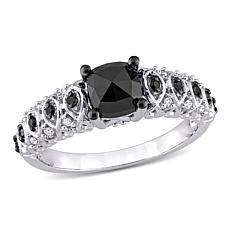 10K White Gold 1.15ctw Black and White Diamond Vintage Engagement Ring