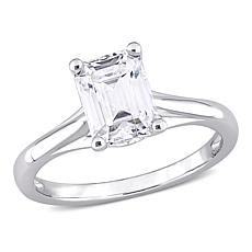 10K White Gold 1.5ctw Moissanite Octagon-Cut Solitaire Engagement Ring