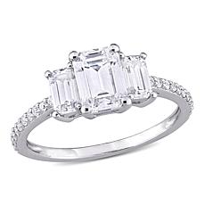 10K White Gold 1.70ctw Moissanite Emerald-Cut 3-Stone Engagement Ring