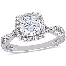 10K White Gold 1.79ctw Moissanite Halo Crossover Ring