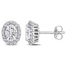 10K White Gold 1.82ctw Moissanite Oval Pavé Halo Stud Earrings