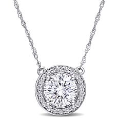 10K White Gold 2.22ctw Moissanite Round Halo Necklace