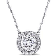 10K White Gold 2.22ctw Moissanite Round Halo Necklace