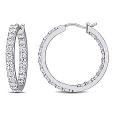 10K White Gold 2.40ctw Moissanite Round Inside-Outside Hoop Earrings